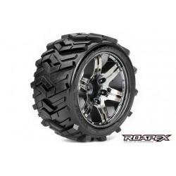 RXR2004-CB2 Pneus - 1/10 Stadium Truck - montés - 1/2 offset - Jantes noires Chromées - 12mm Hex - Morph (2 pces)