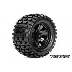 RXR3002-B0 Pneus - 1/10 Monster Truck - montés - 0 offset - Jantes noires - 12mm Hex - Tracker (2 pces)