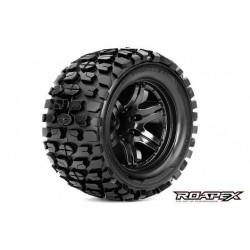 RXR3002-B2 Pneus - 1/10 Monster Truck - montés - 1/2 offset - Jantes noires - 12mm Hex - Tracker (2 pces)