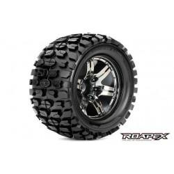 RXR3002-CB0 Pneus - 1/10 Monster Truck - montés - 0 offset - Jantes noires Chromées - 12mm Hex - Tracker (2 pces)