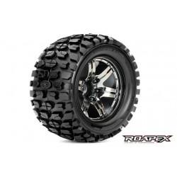 RXR3002-CB2 Pneus - 1/10 Monster Truck - montés - 1/2 offset - Jantes noires Chromées - 12mm Hex - Tracker (2 pces)