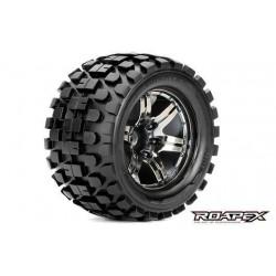 RXR3003-CB0 Pneus - 1/10 Monster Truck - montés - 0 offset - Jantes noires Chromées - 12mm Hex - Rhythm (2 pces)