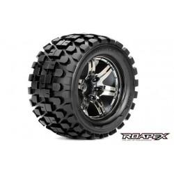 RXR3003-CB2 Pneus - 1/10 Monster Truck - montés - 1/2 offset - Jantes noires Chromées - 12mm Hex - Rhythm (2 pces)