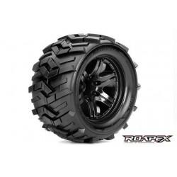 RXR3004-B0 Pneus - 1/10 Monster Truck - montés - 0 offset - Jantes noires - 12mm Hex - Morph (2 pces)