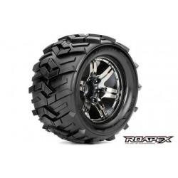 RXR3004-CB0 Pneus - 1/10 Monster Truck - montés - 0 offset - Jantes noires Chromées - 12mm Hex - Morph (2 pces)