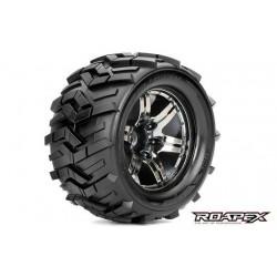 RXR3004-CB2 Pneus - 1/10 Monster Truck - montés - 1/2 offset - Jantes noires Chromées - 12mm Hex - Morph (2 pces)