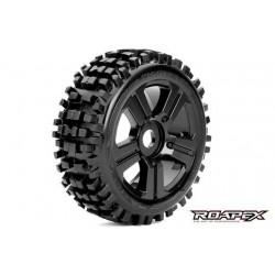 RXR5002-B Pneus - 1/8 Buggy - montés - Jantes noires - 17mm Hex - Rhythm (2 pces)