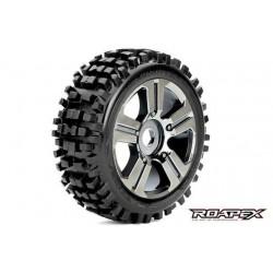 RXR5002-CB Pneus - 1/8 Buggy - montés - Jantes noires Chromées - 17mm Hex - Rhythm (2 pces)