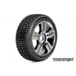 RXR5003-CB Pneus - 1/8 Buggy - montés - Jantes noires Chromées - 17mm Hex - Roller (2 pces)