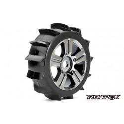 RXR5004-CB Pneus - 1/8 Buggy - montés - Jantes noires Chromées - 17mm Hex - Paddle (2 pces)