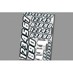 XN002 Autocollants – Numéros - Race – White