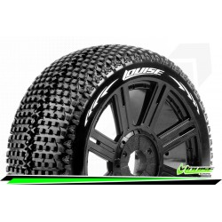 LR-T3104SB Louise RC - B-TURBO - Set de pneus Buggy 1-8 - Monter - Soft - Jantes a Batons Noir - Hexagone 17mm