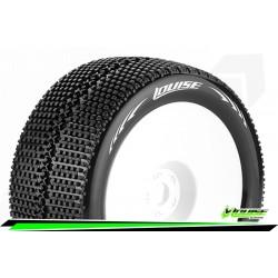 LR-T3112VW Louise RC - T-TURBO - Set de pneus Truggy 1-8 - Monter - Super Soft - Jantes Pleine Blanc - 0-Offset - Hexagone 17mm