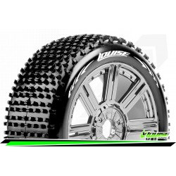 LR-T3150SBC Louise RC - B-HORNET - Set de pneus Buggy 1-8 - Monter - Soft - Jantes a Batons Chrome-Noir