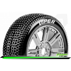 LR-T3194VBC Louise RC - B-VIPER-JA - Set de pneus Buggy 1-8 - Monter - Super Soft - Jantes a Batons Chrome-Noir