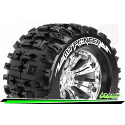 LR-T3218C Louise RC - MT-PIONEER - Set de pneus Monster Truck 1-8 - Monter - Sport - Jantes 3.8 Chrome