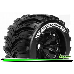 LR-T3220BH Louise RC - MT-CYCLONE - Set de pneus Monster Truck 1-8 - Monter - Sport - Jantes 3.8 Noir