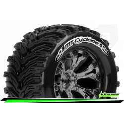 LR-T3226SBCM Louise RC - MT-CYCLONE - Set de pneus Monster Truck 1-10 - Monter - Soft - Jantes 2.8 Chrome-Noir