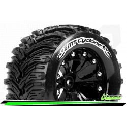 LR-T3226SBM Louise RC - MT-CYCLONE - Set de pneus Monster Truck 1-10 - Monter - Soft - Jantes 2.8 Noir