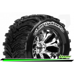 LR-T3226SCH Louise RC - MT-CYCLONE - Set de pneus Monster Truck 1-10 - Monter - Soft - Jantes 2.8 Chrome