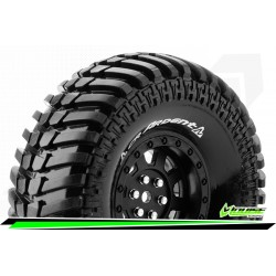 LR-T3232VB Louise RC - CR-ARDENT - Set de pneus Crawler 1-10 - Monter - Super Soft - Jantes 1.9 Noir