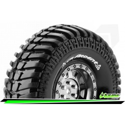 LR-T3232VBC Louise RC - CR-ARDENT - Set de pneus Crawler 1-10 - Monter - Super Soft - Jantes 1.9 Chrome-Noir