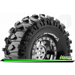 LR-T3233VBC Louise RC - CR-ROWDY - Set de pneus Crawler 1-10 - Monter - Super Soft - Jantes 1.9 Chrome-Noir