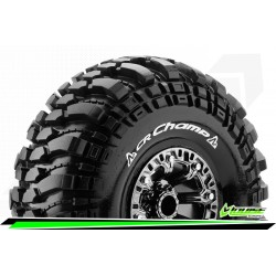 LR-T3236VBC Louise RC - CR-CHAMP - Set de pneus Crawler 1-10 - Monter - Super Soft - Jantes 2.2 Chrome-Noir