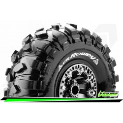 LR-T3238VBC Louise RC - CR-ROWDY - Set de pneus Crawler 1-10 - Monter - Super Soft - Jantes 2.2 Chrome-Noir