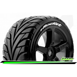LR-T3250SB Louise RC - T-ROCKET - Set de pneus Truggy 1-8 - Monter - Soft - Jantes a Batons Noir