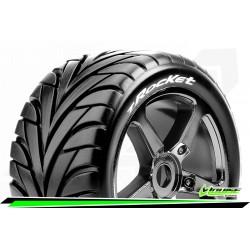 LR-T3250SBC Louise RC - T-ROCKET - Set de pneus Truggy 1-8 - Monter - Soft - Jantes a Batons Chrome-Noir
