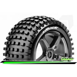 LR-T3251SBC Louise RC - T-ROCK - Set de pneus Truggy 1-8 - Monter - Soft - Jantes a Batons Chrome-Noir