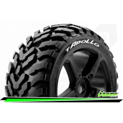 LR-T3252SB Louise RC - T-APOLLO - Set de pneus Truggy 1-8 - Monter - Soft - Jantes a Batons Noir