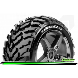 LR-T3252SBC Louise RC - T-APOLLO - Set de pneus Truggy 1-8 - Monter - Soft - Jantes a Batons Chrome-Noir