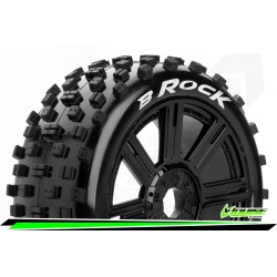 LR-T3270SB Louise RC - B-ROCK - Set de pneus Buggy 1-8 - Monter - Soft - Jantes a Batons Noir