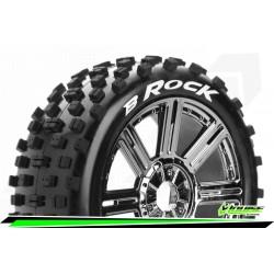 LR-T3270SBC Louise RC - B-ROCK - Set de pneus Buggy 1-8 - Monter - Soft - Jantes a Batons Chrome-Noir
