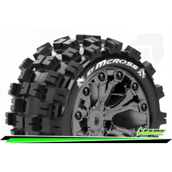 LR-T3272SBCM Louise RC - ST-MCROSS - Set de pneus Stadium Truck 1-10 - Monter - Sport - Jantes 2.8 Chrome-Noir