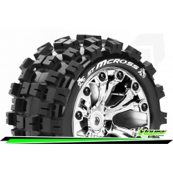 LR-T3272SCH Louise RC - ST-MCROSS - Set de pneus Stadium Truck 1-10 - Monter - Sport - Jantes 2.8 Chrome