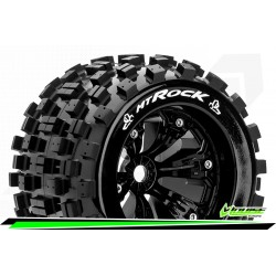 LR-T3277B Louise RC - MT-ROCK - Set de pneus Monster Truck 1-8 - Monter - Sport - Jantes 3.8 Noir