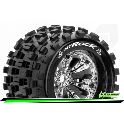 LR-T3277C Louise RC - MT-ROCK - Set de pneus Monster Truck 1-8 - Monter - Sport - Jantes 3.8 Chrome