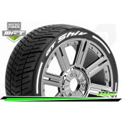 LR-T3284SBC Louise RC - MFT - GT-SHIV - Set de pneus Buggy 1-8 - Monter - Soft - Jantes a Batons Chrome-Noir