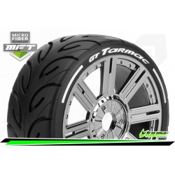 LR-T3285VBC Louise RC - MFT - GT-TARMAC - Set de pneus Buggy 1-8 - Monter - Super Soft - Jantes a Batons Chrome-Noir