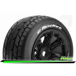 LR-T3286B Louise RC - ST-ROCKET - 1-8 Stadium Truck Tire Set - Monter - Sport - Jantes type Bead 3.8 Noir
