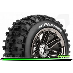 LR-T3287BC Louise RC - ST-PIONEER - 1-8 Stadium Truck Tire Set - Monter - Sport - Jantes type Bead 3.8 Chrome-Noir