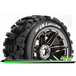LR-T3288BC Louise RC - ST-ULLDOZE- 1-8 Stadium Truck Tire Set - Monter - Sport - Jantes type Bead 3.8 Chrome-Noir
