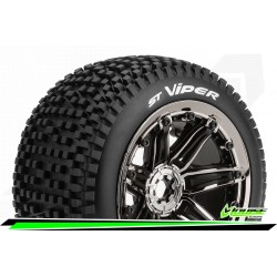 LR-T3289BC Louise RC - ST-VIPER- 1-8 Stadium Truck Tire Set - Monter - Sport - Jantes type Bead 3.8 Chrome-Noir