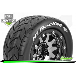 LR-T3307SBCH Louise RC - MFT - MT-ROCKET - Set de pneus Monster Truck 1-10 - Monter - Sport - Jantes 2.8 Bead-Lock Chrome-Noir