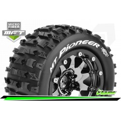 LR-T3308SBCH Louise RC - MFT - MT-PIONEER - Set de pneus Monster Truck 1-10 - Monter - Sport - Jantes 2.8 Bead-Lock Chrome-Noir