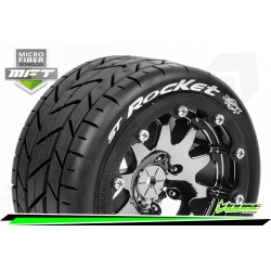 LR-T3311SBC Louise RC - MFT - ST-ROCKET - Set de pneus Monster Truck 1-10 - Monter - Sport - Jantes 2.8 Bead-Lock Chrome-Noir