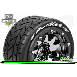 LR-T3311SBCH Louise RC - MFT - ST-ROCKET - Set de pneus Monster Truck 1-10 - Monter - Sport - Jantes 2.8 Bead-Lock Chrome-Noir